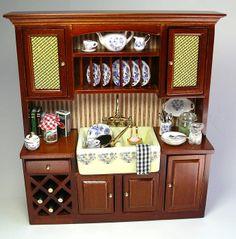 Miniature sink cabinet from Reutter Porcelain in 'Blue Onion' pattern