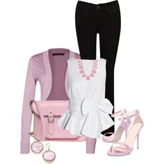"""Black jeans / White top"" by fiona-ross on Polyvore"