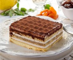Enjoy layers of sweet ricotta cream and ladyfinger cookies drizzled in coffee liqueur, with a dusting of cocoa powder on top. 9x13 Baking Dish, Italian Desserts, Ricotta, A Food, Food Processor Recipes, Sweet Treats, Dishes, Cookies, Chocolate