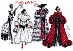 #Hayden Williams Fashion Illustrations: Cruella de Vil collection by Hayden Williams #Spot on Dahling, I Live for Fur, Furociously Fabulous & Revengeful in Red