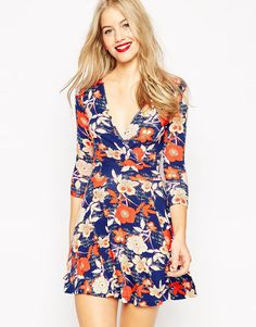 Image 1 ofASOS Floral Wrap Skater Dress