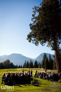 Outdoor ceremony spot: Squamish Valley Golf Club in Squamish, BC. There is beauty everywhere the eye can see. Photo by Tallevi Studios, as seen on BRIDE. Golf Wedding, Wedding Reception, Wedding Venues, Indoor Ceremony, Event Management, Photo Credit, Vancouver, Natural Beauty, Dolores Park