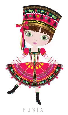 ~Russia Travel Doll ~ by Veronica Alvarez~ We Are The World, People Of The World, Costumes Around The World, Girl Clipart, Thinking Day, World Cultures, Girl Scouts, Paper Dolls, Illustrators