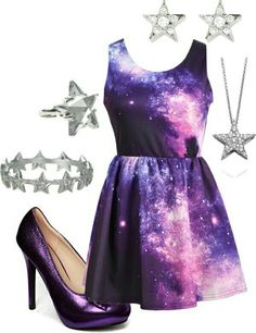 Galaxy dress with star accessories! Dress Outfits, Dress Up, Prom Dresses, Girl Fashion, Fashion Outfits, Womens Fashion, Gothic Fashion, Pretty Dresses, Beautiful Dresses