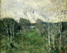 Jour gris, huile sur toile de John Henry Twachtman (1853-1902, United States)