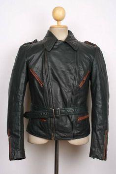 Vtg 1930s WWII HORSEHIDE Belted Leather Hartmann Jacket German LUFTWAFFE