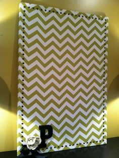 Large Chevron Fabric Covered Cork Board with by MyLittleAlizabeth, $50.00