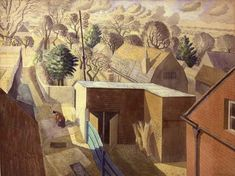 Prospect from an Attic by Eric Ravilious 1932 ( Charlotte Bawden at Brick House, Great Bardfield, Essex. David Hockney, English Artists, British Artists, Magic Realism, Wood Engraving, Linocut Prints, Landscape Paintings, Landscapes, Les Oeuvres