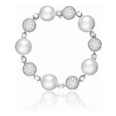 CONTESSA BRACELET  South Sea cultured pearl, diamond and 18k white gold.