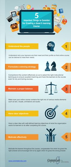 5 Important Things To Consider For Creating Good E-learning Course - An Infographic