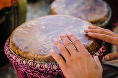 Man playing the djembe