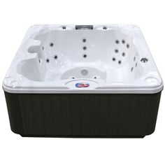American Spas Premium Acrylic Bench Sterling Silver Spa Hot Tub with Backlit LED Waterfall-AM - The Home Depot