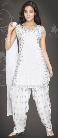 #White Readymade #Cotton Semi Patiala #Kameez With #Dupatta @ $63.46 | Shop @ http://www.utsavfashion.com/store/sarees-large.aspx?icode=kwm3018