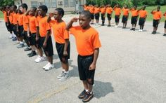 """SCHOOL-TO-PRISON PIPELINE """"A weeklong military-style program at Sorter Elementary School in Benton Harbor, Mich. for students who have been expelled or suspended. Singing The National Anthem, Benton Harbor, Restorative Justice, Military Fashion, Military Style, Education System, Civil Rights, Social Justice, Elementary Schools"""