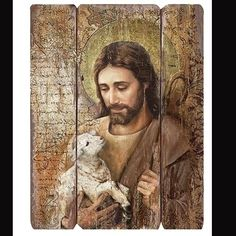 Jesus the Good Shepherd wall panel. Stunning art that is sure to bring peace and comfort to any home, chapel, prayer room or church. This panel is made to look have a vintage look and feel. Measures :
