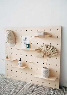 Functional and beautiful pegboard, designed and hand crafted from Birch Plywood in Brighton, UK by Little Deer. The pegboard and shelves are both Wooden Pegboard, Pegboard Craft Room, Pegboard Display, Pegboard Storage, Display Shelves, Kitchen Pegboard, Peg Board Shelves, Peg Boards, Diy Peg Board