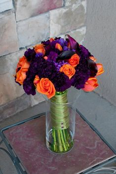 this is the bouquet I want the bridesmaid to have. And mine the dark purple