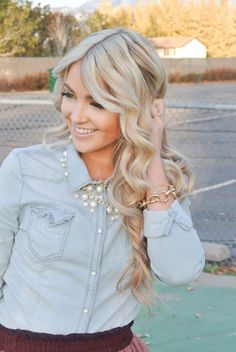 Chambray shirt with pearls & gorgeous blonde curls