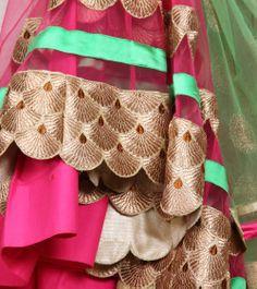 Pink & Lime Green Net & Art Silk Lehenga Set | by Sanskriti