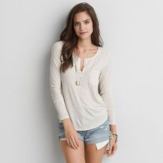 AE Henley Long Sleeve T-Shirt featuring polyvore, women's fashion, clothing, tops, t-shirts, white, henley top, white henley tee, white henley t shirt, white top and white tee