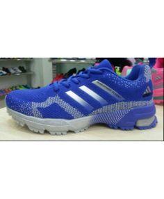 b88d3dbdbf8d2 2015 Men s Adidas Marathon Flyknit Running Shoes Light Grey Bold Blue Sale