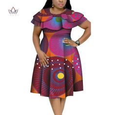 Image of New Bazin Riche African Ruffles Collar Dresses for Women Dashiki Print Pearls Dresses Vestidos Women African Clothing WY4401