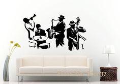 Wall Decal Jazz Saxophone Instrument Tool Band Musical Player Sticker Art Vinyl Drums Bass Wall Decal Vinyl Mural Adesivo WA-24