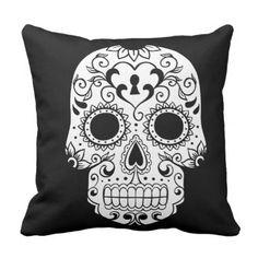 Sugar Skull Pillow - halloween decor diy cyo personalize unique party