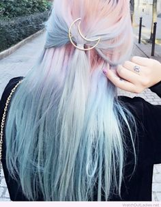 Half moon pin on colorful hair color