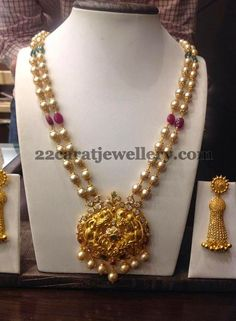 Jewellery Designs: Pearls Chain with 38 Grams Pendant