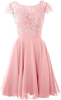 MACloth Women Short Cap Sleeve Lace Wedding Bridesmaid Mother Dresses Homecoming at Amazon Women's Clothing store Robe Swing, Swing Dress, Blush Pink Dresses, Bridesmaid Dress Colors, Cap Dress, Dress Lace, Mothers Dresses, Party Dresses For Women, Party Gowns