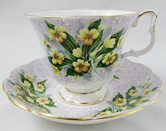 "Royal Albert Festival Series ""Adelphi"" Purple Tea Cup and Saucer with Yellow Flowers, Vintage Bone China"