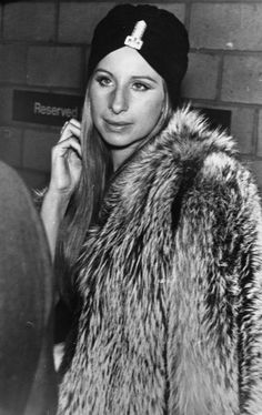 Loving Barbra. So chic with her 70's style. turban & fur coat