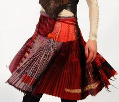 Skirt (2011) by Glasgow-based textile artist Jilli Blackwood. Dyed, cut, sewn, embroidered and woven together fabrics. via Fashion link