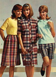 dcda1f733a Madras plaid was super popular summer of 1960 www.oldvintagerags.etsy.com #