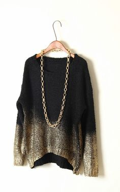 Women's Loose Thick Gradient Metallic Knitted Sweater