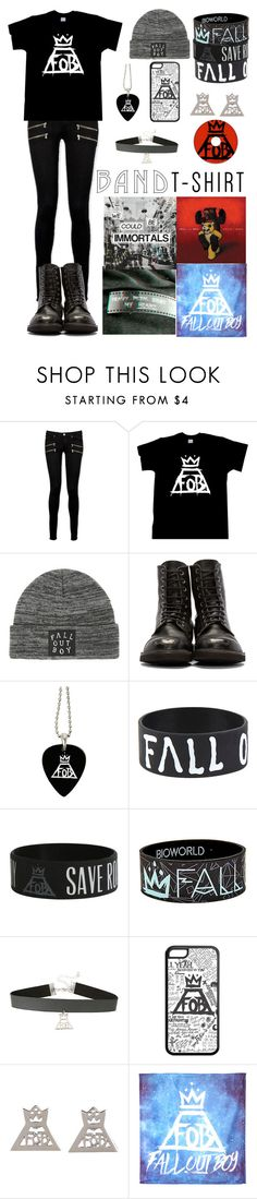 """""""Fall Out Boy"""" by ender1027 ❤ liked on Polyvore featuring Paige Denim, bandtshirt and bandtee"""