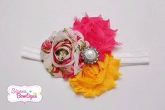 Vintage Floral Shabby Headband Baby Girl Shabby by SiennaBowtique, £7.00