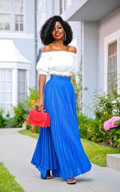 Off Shoulder Blouse + Pleated Maxi Skirt (Style Pantry) Pleated Maxi, Chiffon Skirt, Maxi Skirts, White Tea Length Dress, Tea Length Dresses, Skirt Fashion, Boho Fashion, Black Fashion Bloggers, Royal Blue Skirts