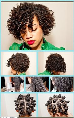 I love doing this on my hair! I can't wait until it gets longer so it can look like this! Bantu Knot Set <3