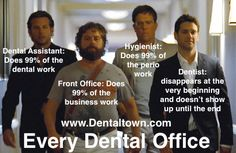 Every Dental Office: Dental Assistant: Does 99% of the dental work Front Office: Does 99% of the business work Hygienist: Does 99% of the perio work Dentist: Disappears at the very beginning and doesn't show up until the end