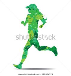 woman silhouette in leaves running vector illustration by mayok21, via ShutterStock