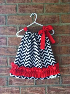 Black and White Chevron with Red Ruffle Pillow Case Dress on Etsy, $23.00