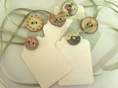 Buttons & ribbon on paper gift tags - very pretty. Or labels. Paper Tags, Paper Gifts, Kraft Paper, Christmas Gift Tags, Christmas Crafts, Xmas, Christmas Wrapping, Holiday Gifts, Craft Gifts