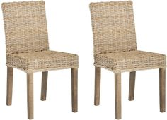 Grove Rattan Side Chair Natural Unfinished (set of 2)