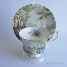 Free Shipping Royal Albert BLUEBELL WOOD from the Country Scenes Series Bone China Tea Cup and Saucer by LauriesFineChina on Etsy
