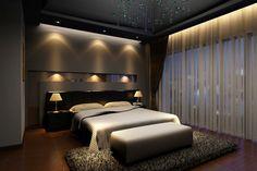 Elegant Dark Master Bedroom Design With Dark Hard Wood Floor, Dark Walls,  Built In Lighting And Large Dark Rug