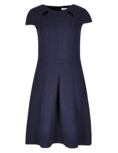 Buy the Jacquard Cutwork Dress from Marks and Spencer's range. Fit Flare Dress, Fit And Flare, Stylish Dresses, Dresses For Work, New Fashion, Womens Fashion, Cutwork, Dress Making, Clothes For Women