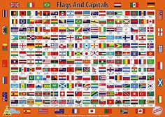 World Flags Poster Wall Chart Educational Learning Guide Geography Brand 24x36