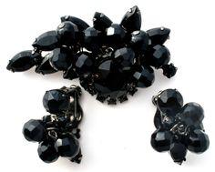 Vintage Black Brooch & Earrings Juliana Bead & Rhinestone